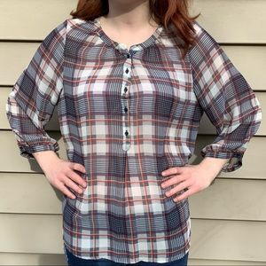 Sheer Plaid Polyester Blouse